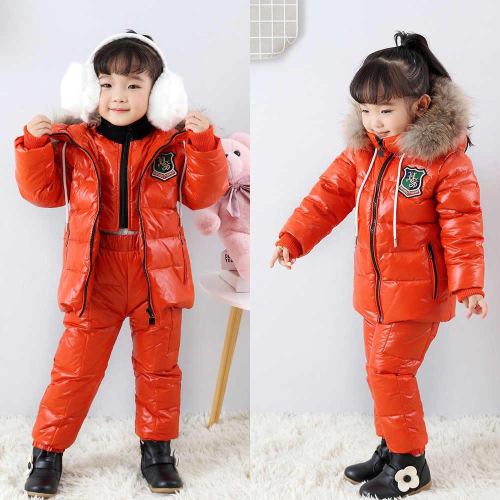 חורף ילדים של חליפת למטה מעיל שני חלקי ילד וילדה למטה מעיל ביב-30 חורף טיול סקי חליפת מעובה למטה מעיל