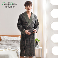 Men's spring and autumn sleepwear long sleeve robes 100% cotton bathrobes medium long plus size leisure home wear morning coat