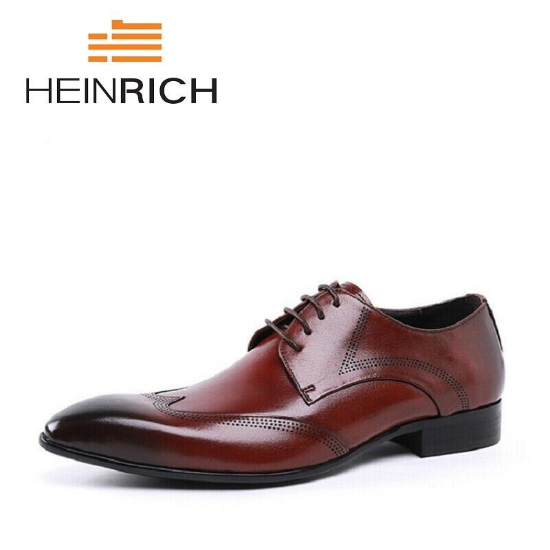 HEINRICH 2018 hommes chaussures rouge noir Style italien haut en cuir hommes Oxford chaussures à lacets luxe formel affaires chaussures de mariage