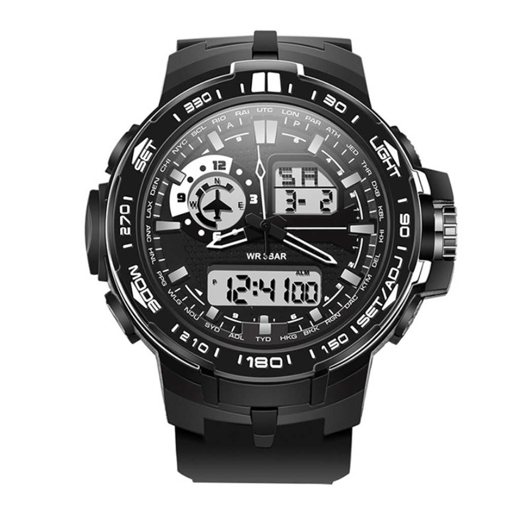 Multifunction Stylish Big Face Analog Digital Watch Dual Time Zone Waterproof Fashion Outdoor Sport Watches Tools