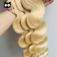 Promqueen Brazilian Body Wave Hair 613 Blonde Human Hair Weave Bundles 1/3/4 p/lot Human Hair Extension 30 32 34 Inch