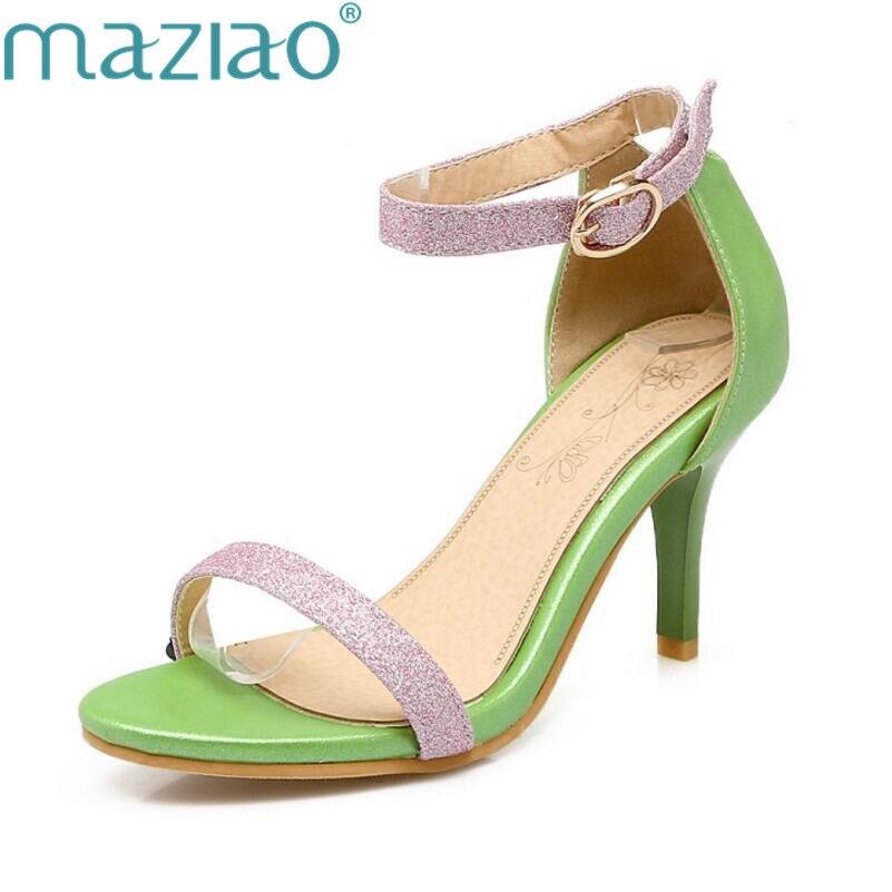 c93cc8b84 Maziao Ocasionales Hebillas Bien Verano Toe Peep Sandalias blanco Verde  Coreano Gran De Tamaño rosado Hebilla Romana Con Moda Tacones CRwCFqZ