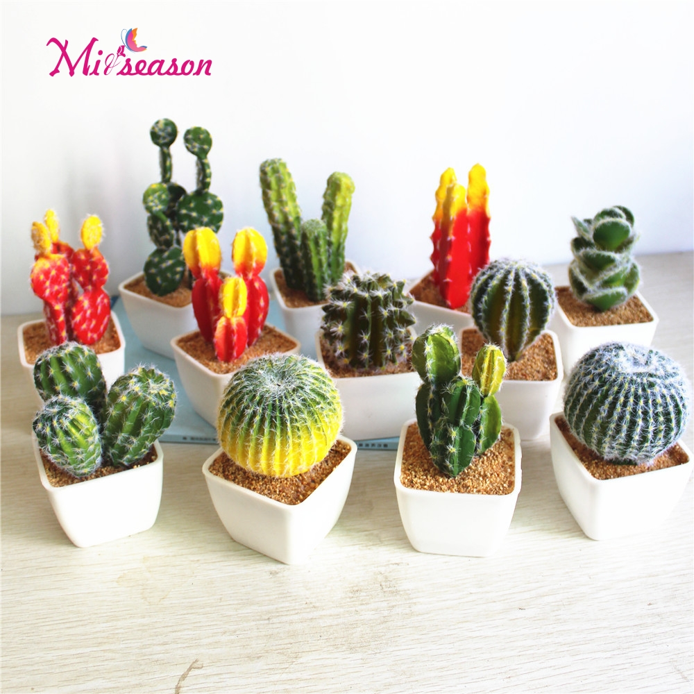 1 Set Artificial Cactus Potted Pu Plant With Vase Simulation