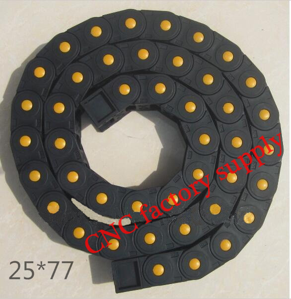 Free Shipping  1M 25*77 mm  Plastic Cable Drag Chain For CNC Machine,Fully Closed Type ,PA66 semi closed 25x50mm cable drag chain wire carrier with end connectors plastic towline for cnc router machine tools 1000mm