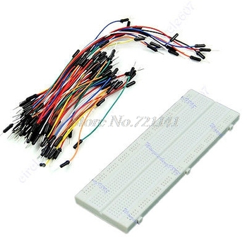 MB-102 830 Point Solderless PCB Breadboard + 65pcs Mix Color Jump Cable Wires Dropship