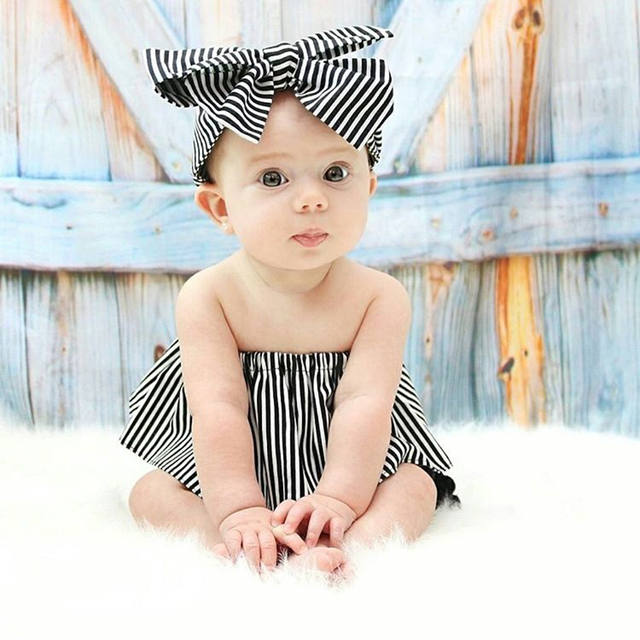 d01292627dc9 2018 3Pcs Set Newborn Baby Girls' Black White Striped Off Shoulder Tops+ Ruffles Tassel Shorts+Headband,Cute 1st Birthday Gift