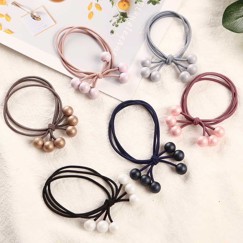 1PCS Multicolor Pearls Hair Holders Rubber Bands Elastic Hair Bands Girl Women Ponytail Tie Gum Hair Accessories Headwear