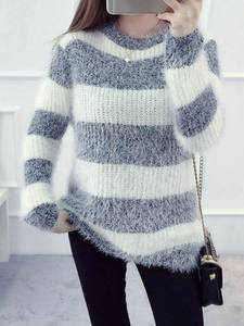 Loose Pullover Neck-Sweater Mohair Winter Womens Wholesale Cheap Casual Hedging Drop-Ship