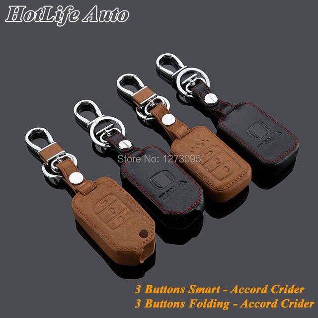Подлинная Брелок Кожа Ключа Автомобиля Дело Брелок Обложка для 2014 Accord Crider Smart/Folding Remote Key Chain Ring Держатель аксессуары