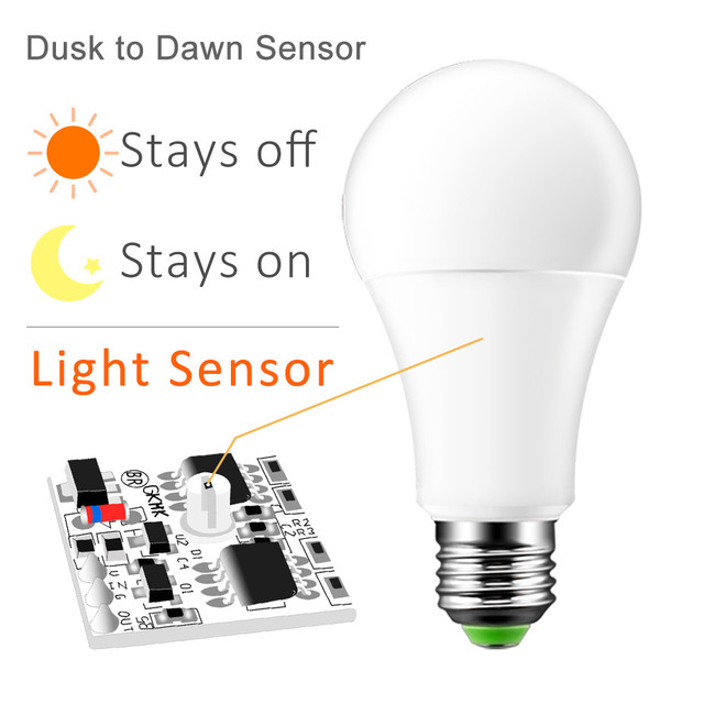 LED Dusk to Dawn Light Bulb E27 B22 Smart Light Sensor Bulbs 110V 220V LED Night Light 7W 12W Automatic Indoor/Outdoor Lamp