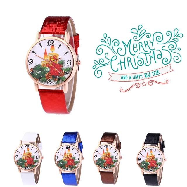 6af3618759e7 Mujeres moda Navidad patrón relojes de cuarzo analógico cuero banda reloj  2018 Relogio Feminino Saat