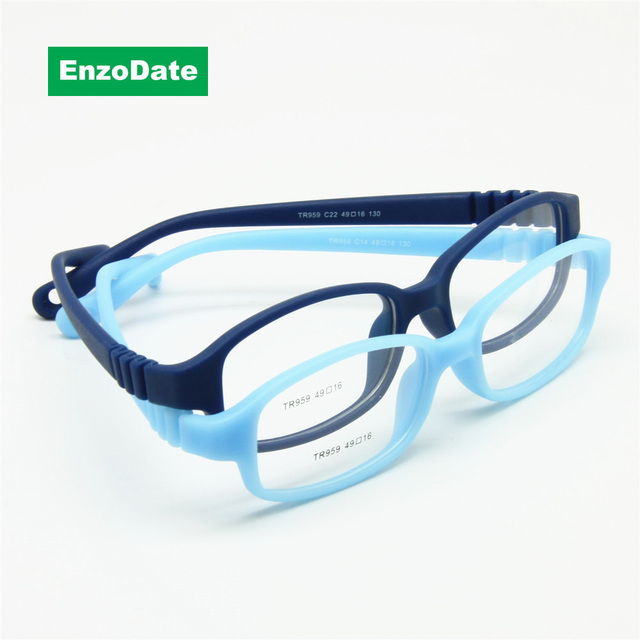 Children Optical Glasses Frame with Strap Size 49, No Screw Flexible Girls Boys Glasses,One-piece Kids Glasses with Cord