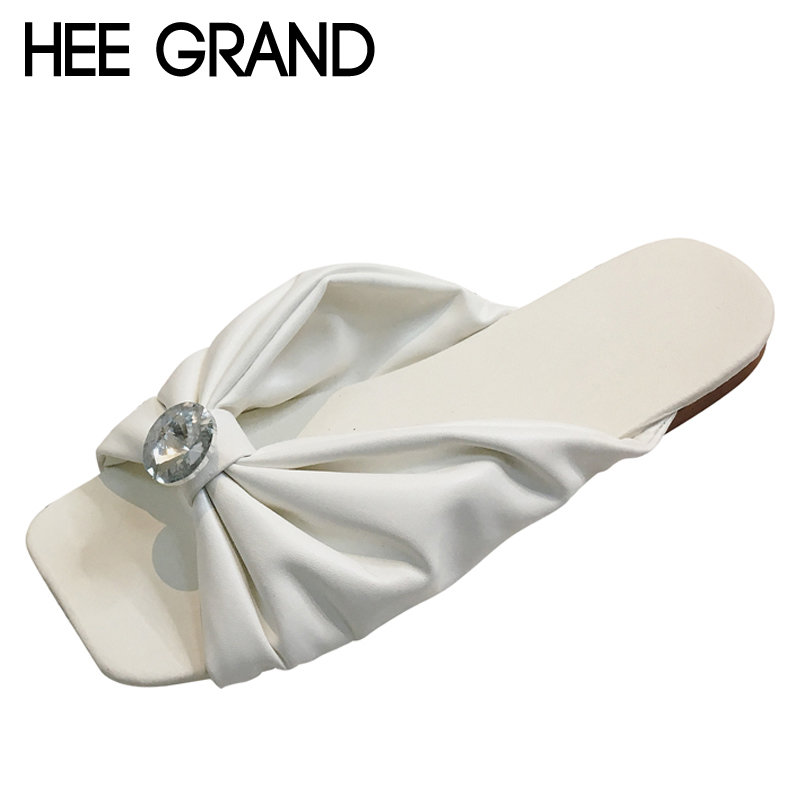 HEE GRAND 2017 Crystal Slippers Summer Slip On Flats Leisure Square Toe Shoes Woman Platform Slides Beach Women Shoes XWT776 hee grand 2017 bowtie slippers platform sweet solid slides summer casual flats shoes woman slip on creepers xwt851