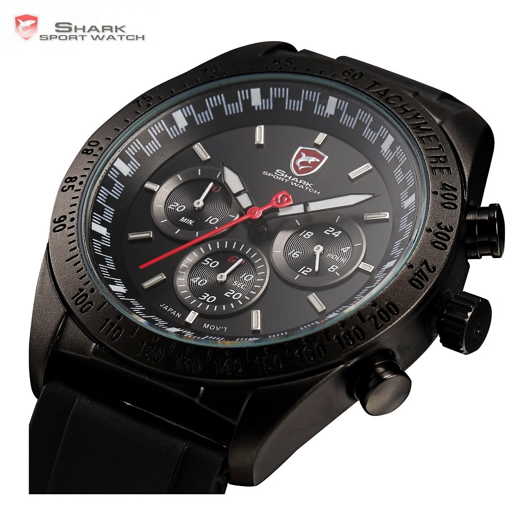 Swell SHARK Sport Watch Luxury 3 Dial 24Hrs Black Dial Luminous Hands Rubber Strap Watch /SH272 1
