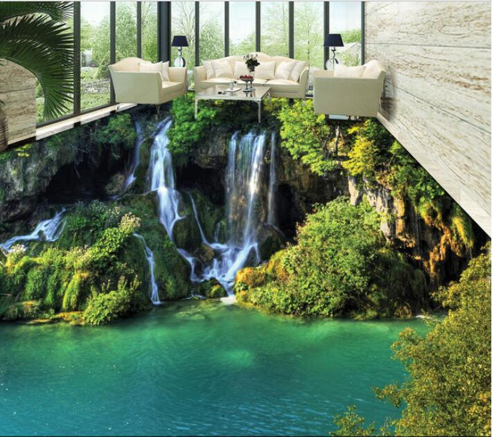 3 d pvc flooring custom 3d bathroom flooring Romantic green mountain stream waterfall 3 d flooring painting mural wallpaper free shipping high quality hd underwater world 3d flooring painting wallpaper kitchen office wear floor mural