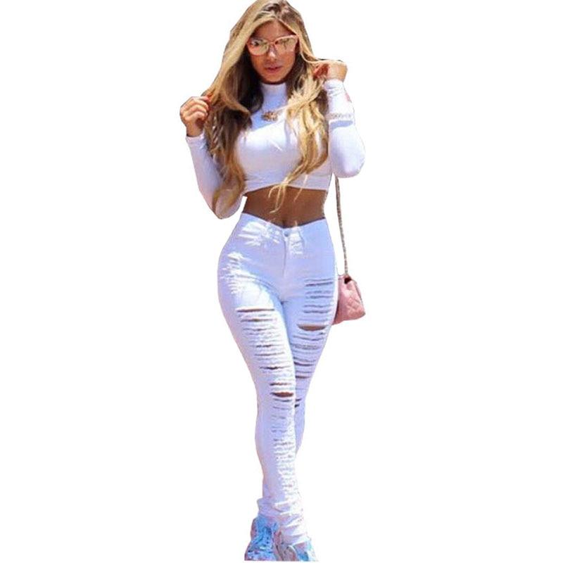 Aliexpress.com : Buy Denim Ripped Jeans For Women Sexy Skinny ...