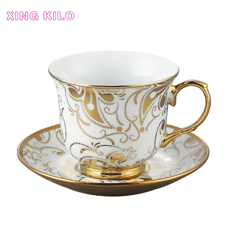 XING KILO Coffee cups Colorful gold ceramic cups Couple models Gold high-grade coffee cups and saucers Tea cups and spoons