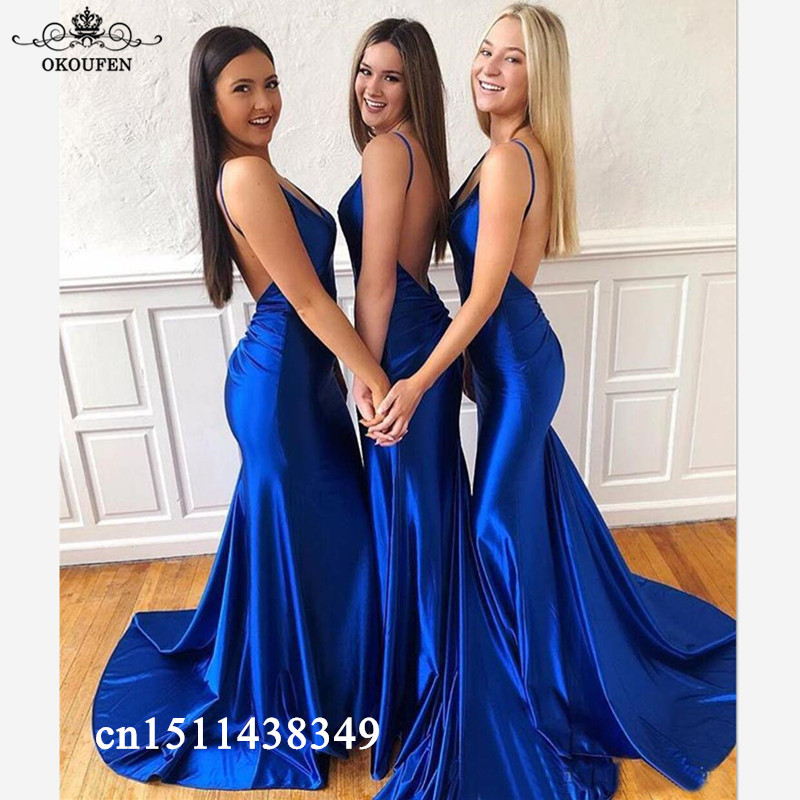 Royal Blue Stretchy Satin Mermaid   Bridesmaid     Dresses   For Women 2019 Deep V Neck Backless Maid Of Honor   Dress   Party Gown