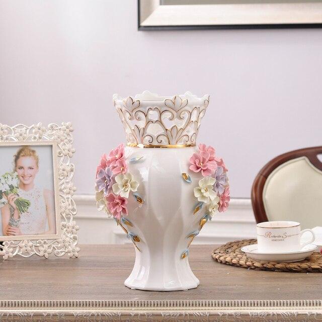 cermica blanco rojo moderno flores jarrones de decoracin del hogar florero piso grande de decoracin de - Decoracion Jarrones