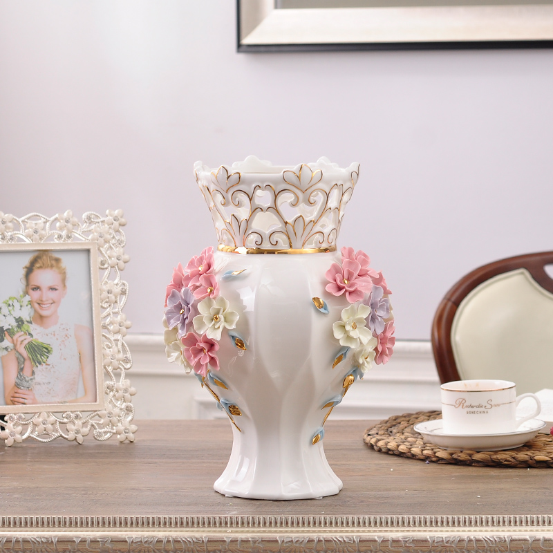 Ceramic Red White Modern Flowers Vase Home Decor Large Floor Vases For Wedding Decoration Ceramic Handicraft Porcelain Figurines