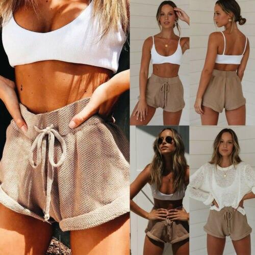 Women Hot Pants Summer Casual Loose Shorts High Waist Folded Short Trousers UK