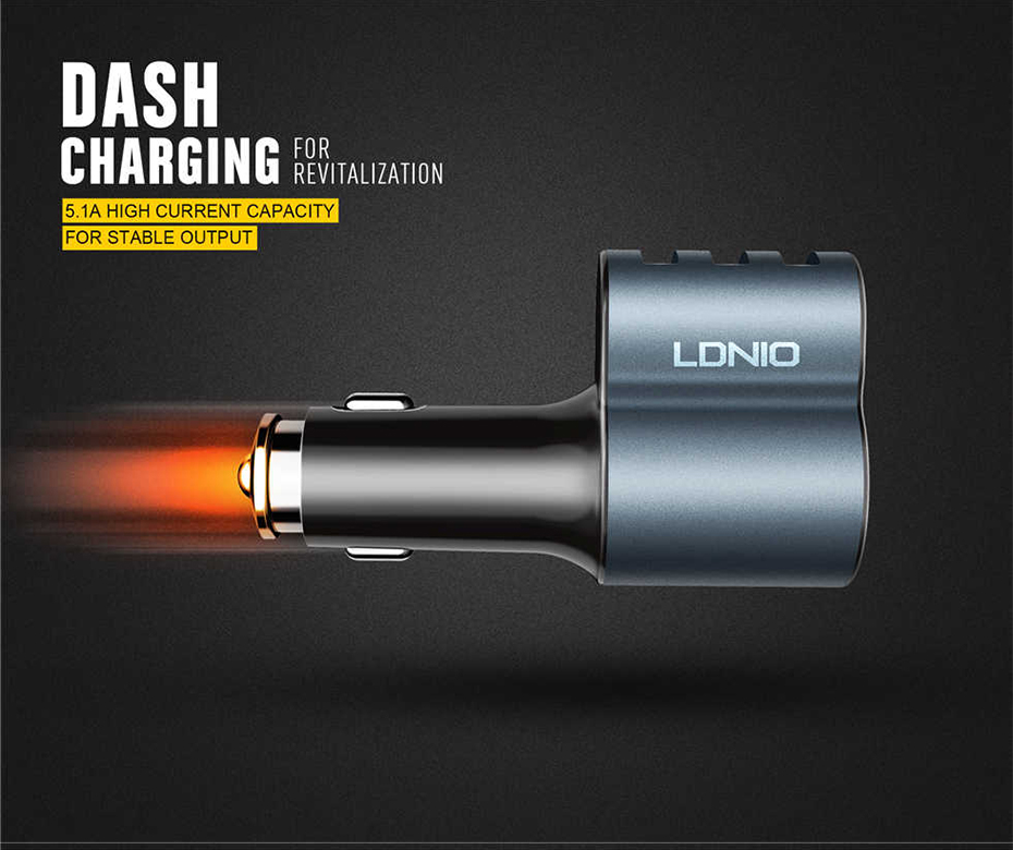 LDNIO Car charger with cigratte socket (5)