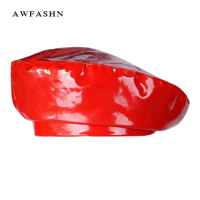 2019 New Fashion Patent Leather Beret High Quality Ladies Hats Solid Color Flat Top Hat PU Slouchy Bone Captain Cap Women Female
