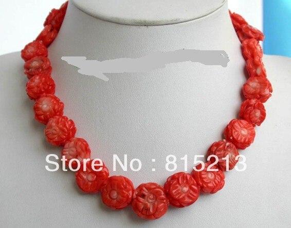 Ddh0056 Incroyable grand 13mm carve rouge corail fleur perles collier 14KGP fermoir 28% de Réduction (A0430)