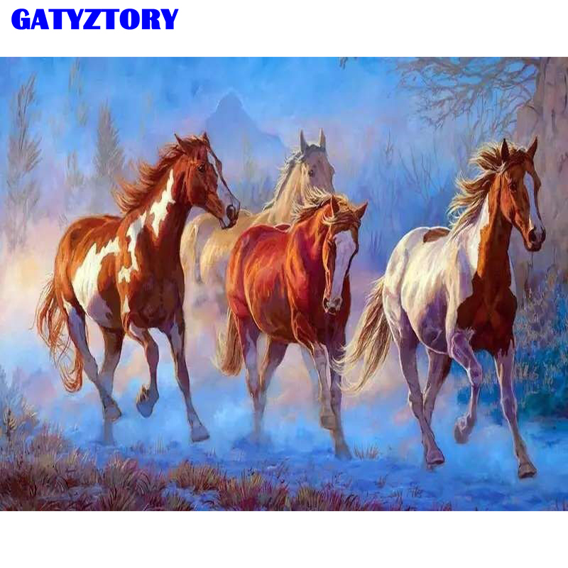 Frameless Horse Animals DIY Digital maleri med numre Home Decoration Akryl Picture Hand Painted Oliemaleri Til Wall Art