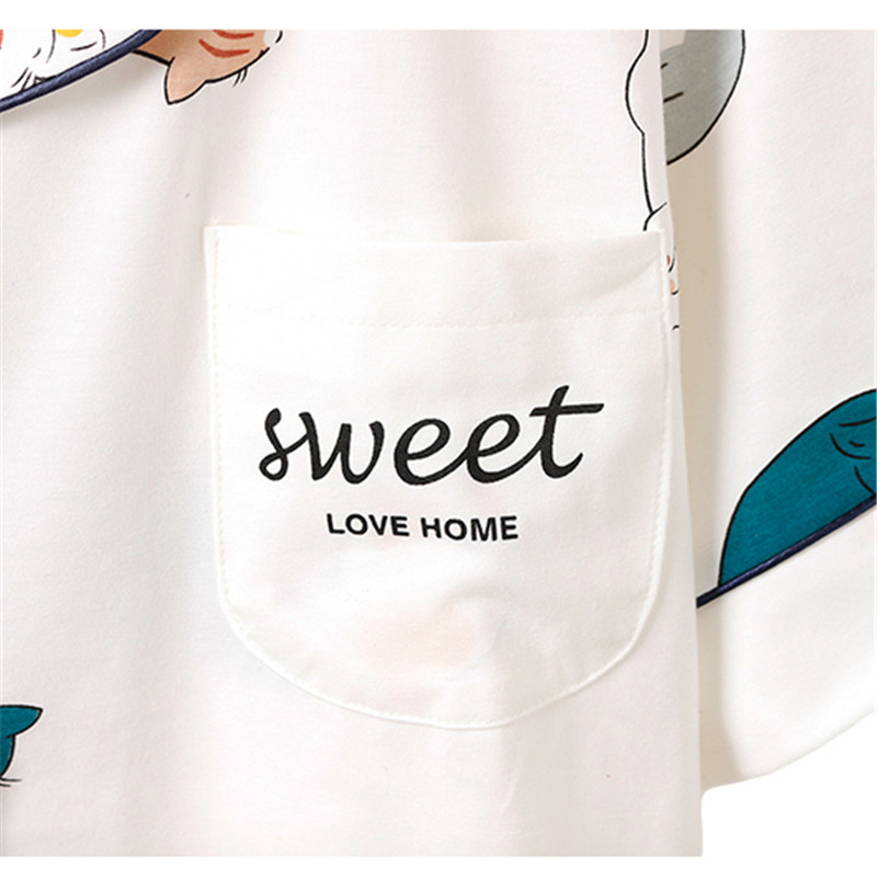 Caiyier Summer Women Cotton Pajamas Sets Cute White Cat Print Short Sleeve Sleepwear With Eye Mask Girls Nightwear Lovely Homewe