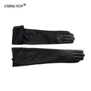 Image 3 - Kış sıcak uzun kollu eldiven kadın kol kollu hakiki deri koyun derisi kaşmir bayan eldivenler birçok perçin düğmeleri eldiven