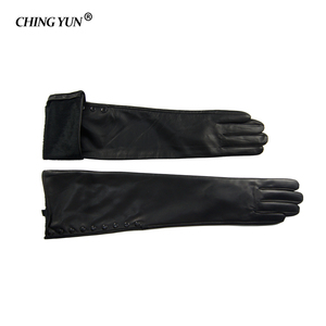 Image 3 - Winter Warm Long Sleeved Gloves Womens Arm Sleeves Genuine Leather Sheepskin Cashmere Lady Mittens Many Riveted Buttons Gloves