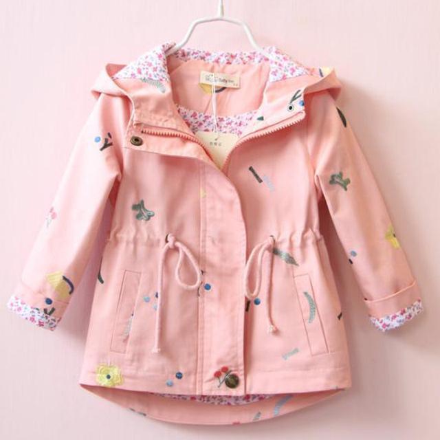 Girls Hooded Outwear Windbreaker Coat