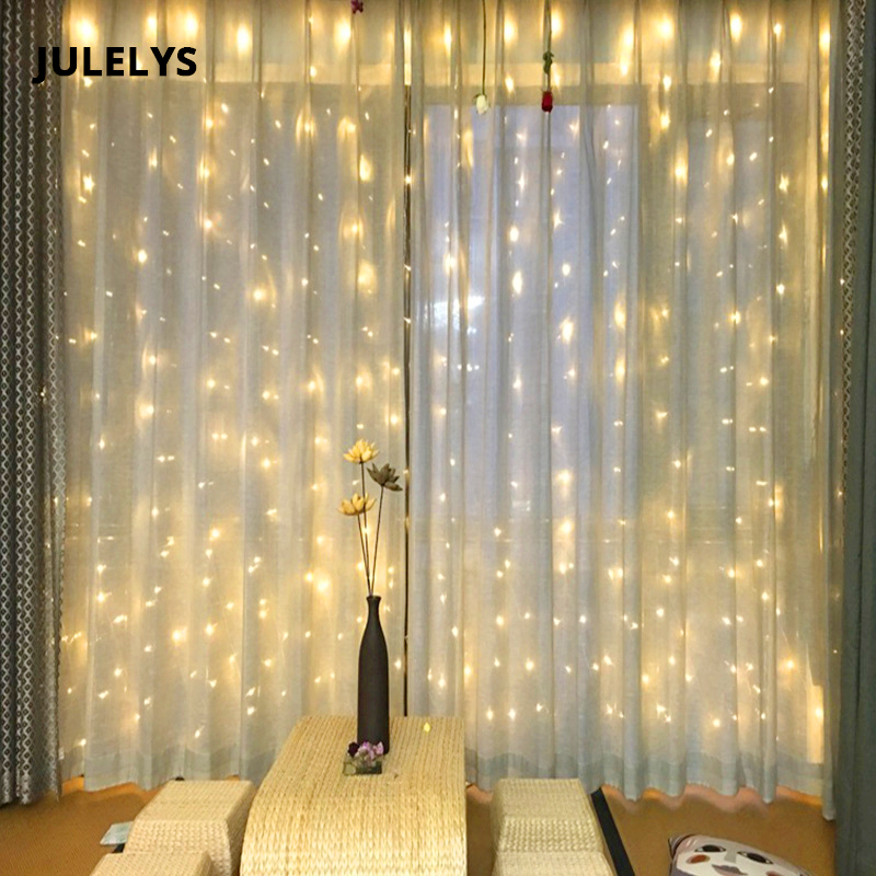 JULELYS 6M X 1.5M 288 Bulbs LED Curtain Light Christmas Garland Lights Decorations For Wedding Holiday Party Home Garden Decor