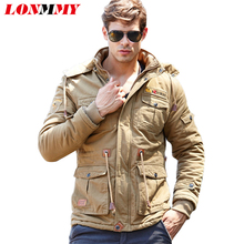LONMMY 2017 Winter jacket men Velvet Thick Warm Bomber Hoodies Cotton jaquetas military men jacket Hooded Casual Mens coats
