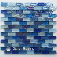 Free shipping mediterranean sea style brick pattern white and deep blue glass mosaic tile for home decoration wall tile
