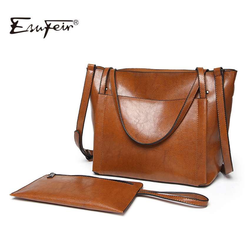 ESUFEIR Brand PU Women Handbag Fashion Shoulder Bag Large Capacity Oil Wax Leather Casual Tote Women Composite Bag Crossbody Bag kamicy brand bag women genuine leather handbag fashion solid color cowhide shoulder bag large casual tote composite women bag