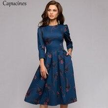 Capucines Темно-синее платье Рукава 3/4 напечатанный Платье женское весна лето марочный карманный A-линии Повседневная Платье Elegent Бальные платья