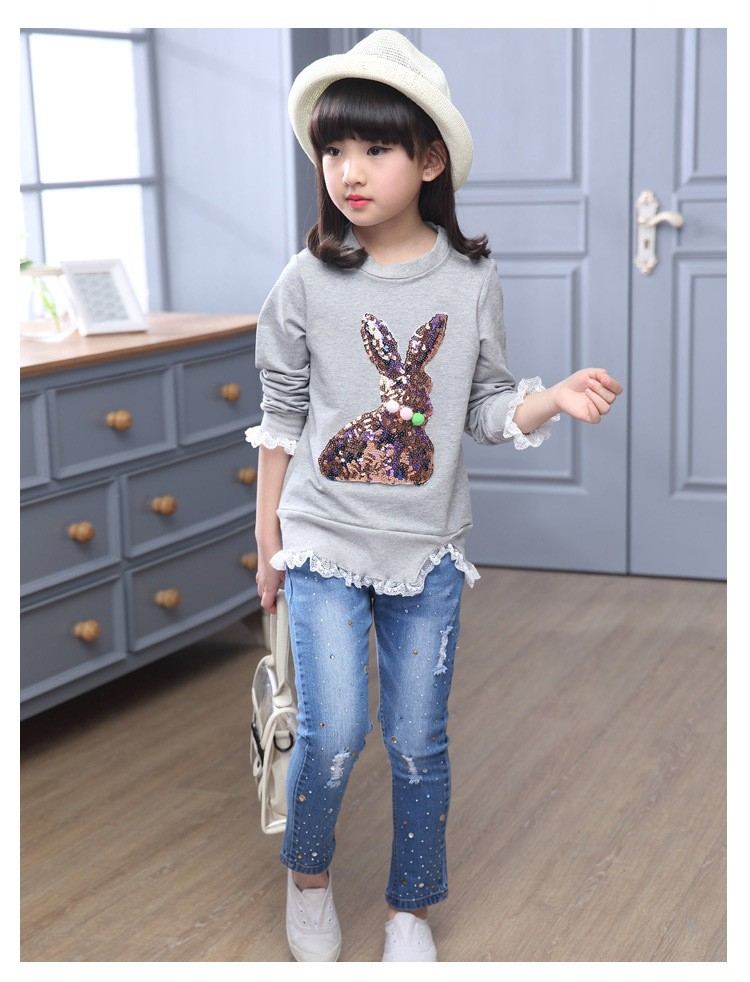2016 new arrive sequined rebbit charatcer gray pink girls sweatshirt spring long sleeve kids clothes girls tops clothes 8 10 12 14 years girls clothing  6 7 8 9 10 11 12 13 14 15 16 children clothing (14)