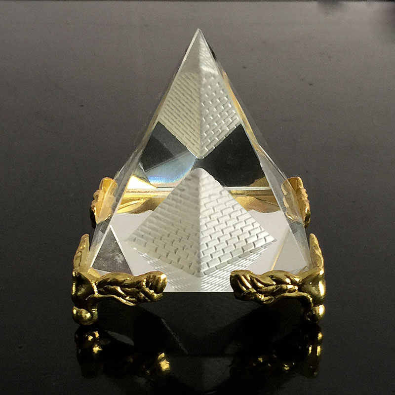Egyptian Quartz Crystal Glass Hollow Pyramid Paperweight Fengshui Figurine  Wicca Crafts Home Wedding Office Decor Ornaments