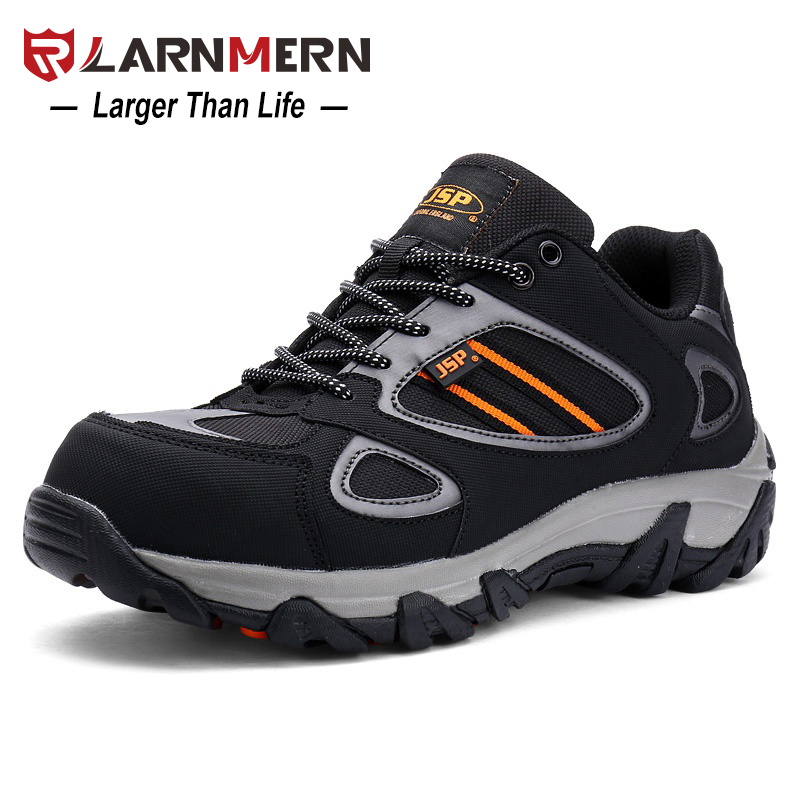 LARNMERN Men Steel Toe Safety Work Shoes Casual Breathable Outdoor Sneaker Boots Puncture Proof Protection Footwear summer breathable mesh work safety shoes steel toe caps work safety puncture proof boots for men outdoor casual working shoes