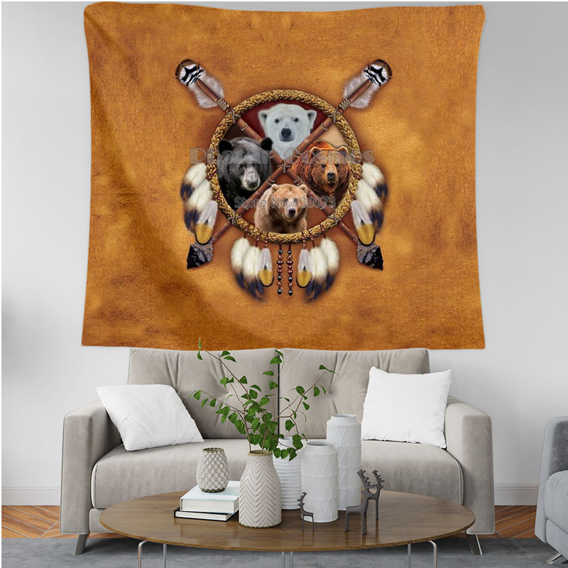 Bear Totem Native Indian 3D Printing Tapestrying Rectangular Home Decor Wall Hanging New style 2 in Tapestry from Home Garden