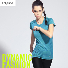 Summer Women Striped T-Shirt Top Short Sleeve Exercise Tee Gradient Color Sport Running Shirt Clothes Quick Dry