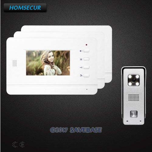 HOMSECUR 1v3 Color Hand-Free Door Phone Intercom System With Sensor-controlled White LED Lights for Apartment