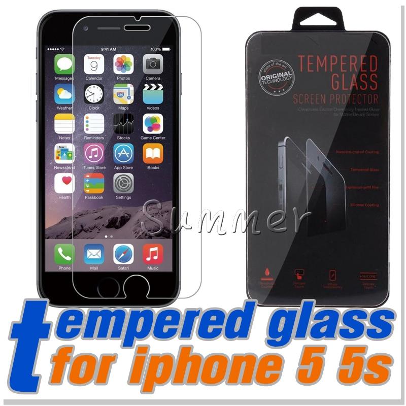 imágenes para 100 unids cristal protector en el para 5c iphone 6 6 s plus 5S 4S a prueba de explosiones 0.26mm 9 h 2.5d película protectora
