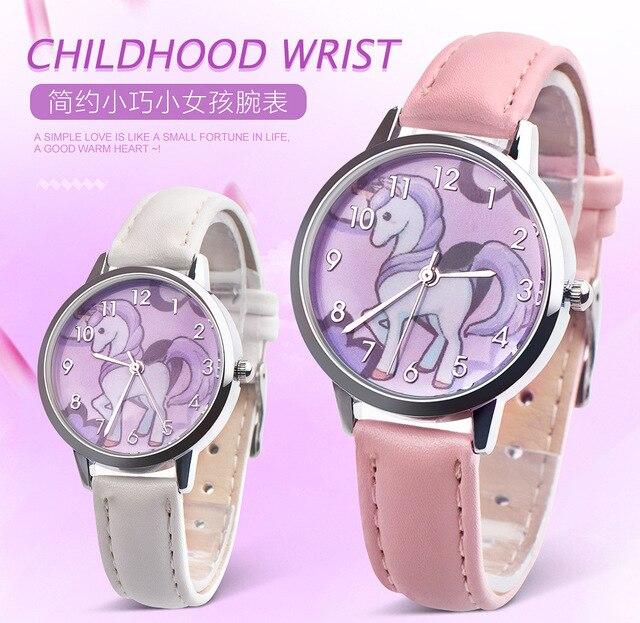 New unicorn design Quartz Kids Watch Sports fashion cartoon leather Wristwatch f
