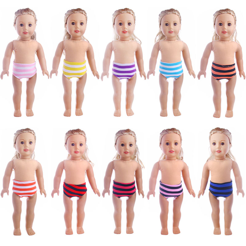 10 Colors Striped Panties Doll Underwear Fit 18 Inch American&43 CM Baby Doll Clothes Accessories,Girl's Toys,Generation,Gift