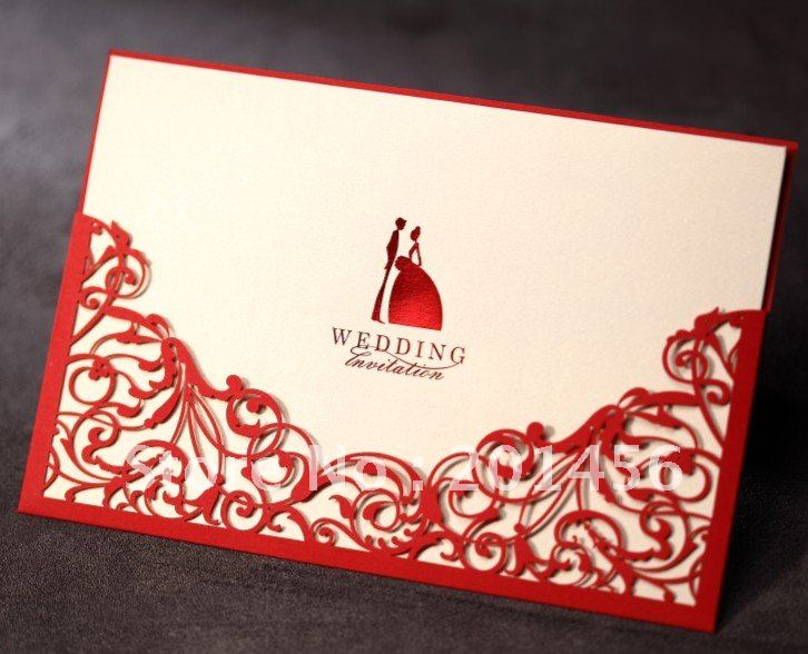 Red Chinese Wedding Invitations Card Elegant Engagement And Birthday Party  Invitations Card Customised Printing CW1011(