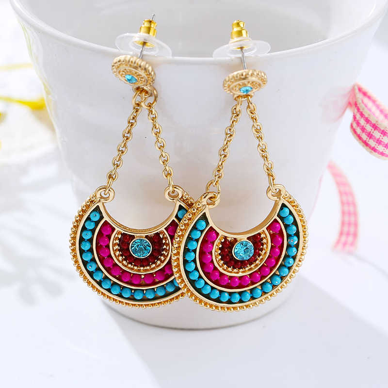 2018 Summer Bohemia Ethnic Colorful Beads Long Drop Earrings Vintage Statement Dangle  Earrings For Women Jewelry Gifts