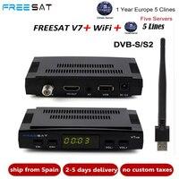 10 шт. Freesat V7 HD CCcam спутниковый приемник + 1 год Европа Испания CCam Клайн сервер + 1 взаимный обмен данными между компьютером и периферийными устр